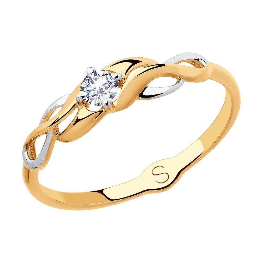 картинка кольцо из золота с фианитом 018076