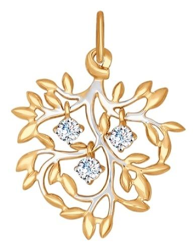 картинка подвеска из золота 585° с фианитом 035023