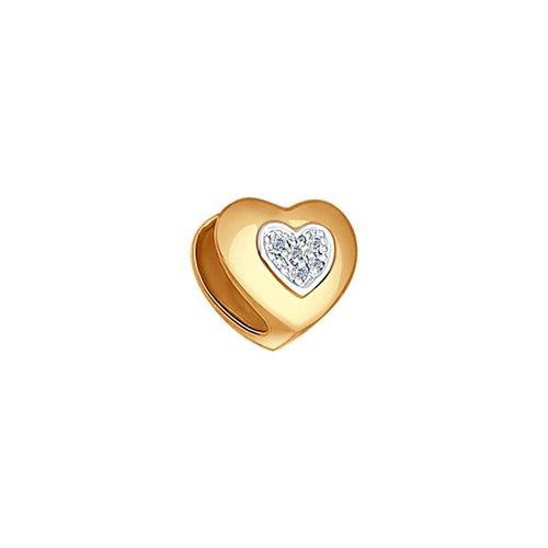 картинка подвеска-шарм с бриллиантами «сердце» 1030504