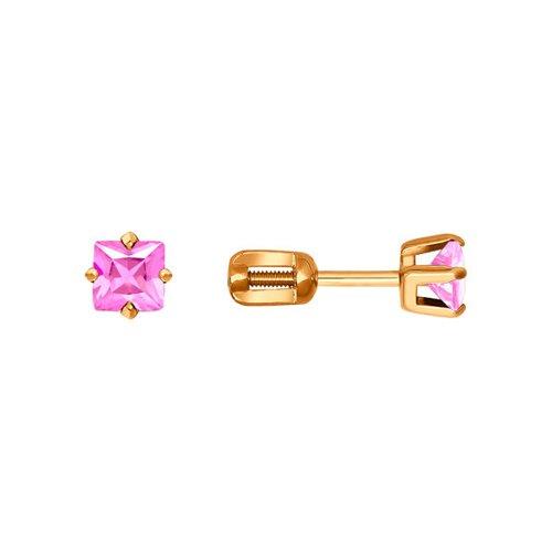 картинка серьги-пусеты из золота с розовыми фианитами 022171