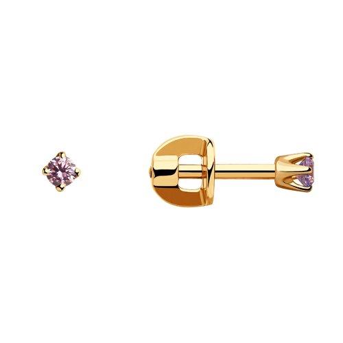 картинка серьги-пусеты из золота с розовыми фианитами 021941
