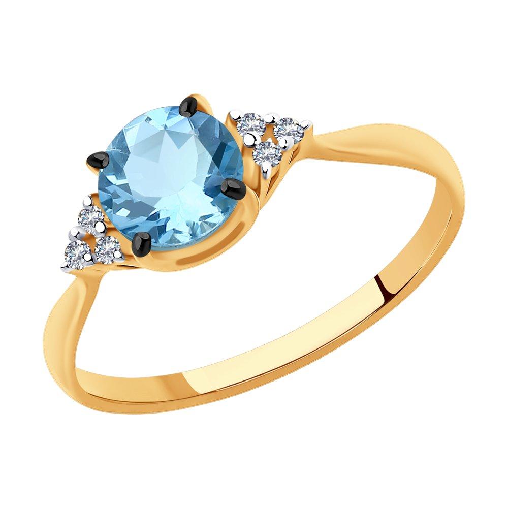 картинка кольцо из золота с бриллиантами и аквамариновым 6014128