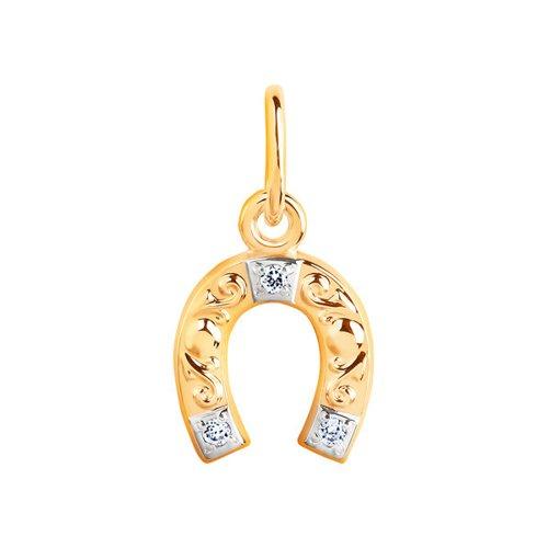 картинка подвеска «подкова» из золота с фианитами 033097