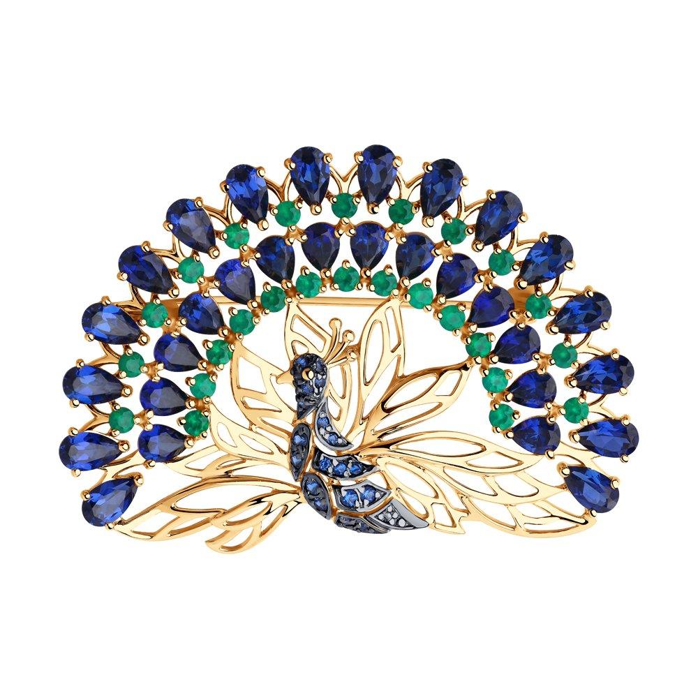 картинка брошь «павлин» из золота с миксом камней 740254