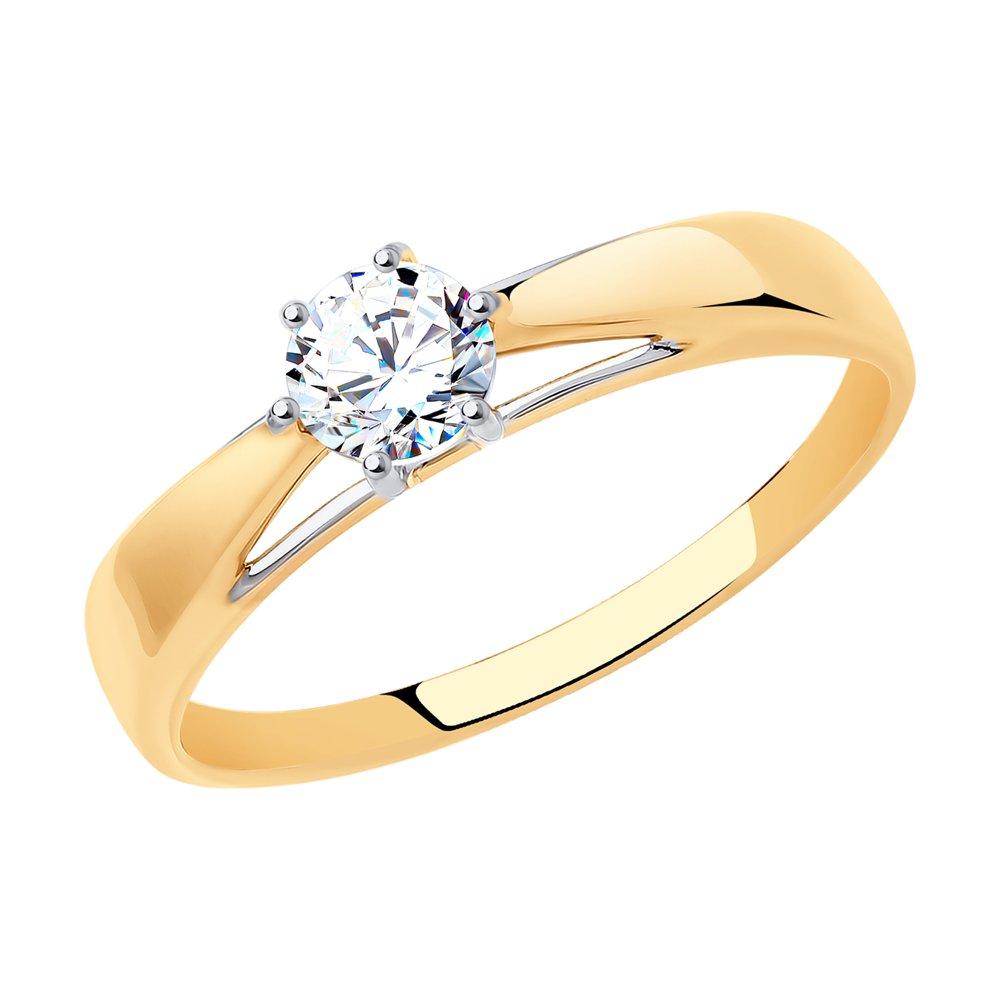 картинка помолвочное кольцо из золота с фианитом 017494