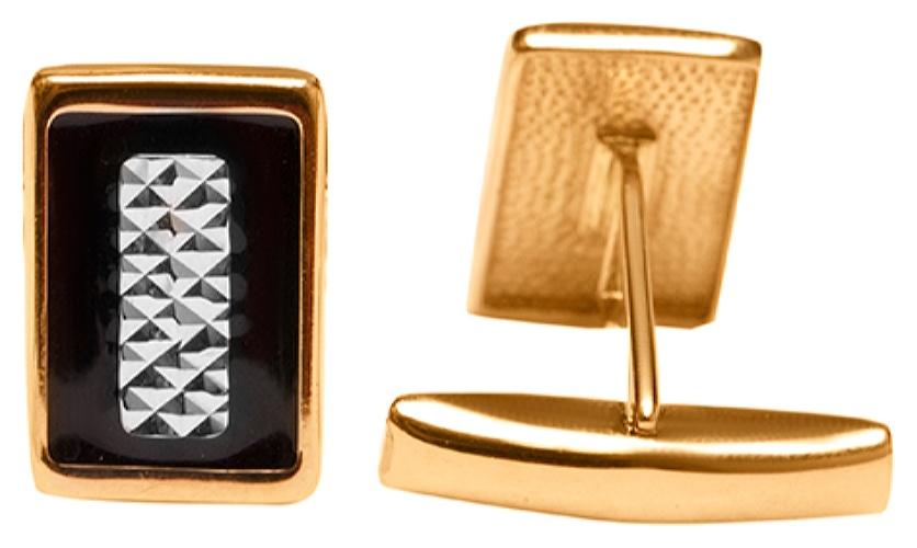 картинка запонки из золота 585° с эмалью 9-656
