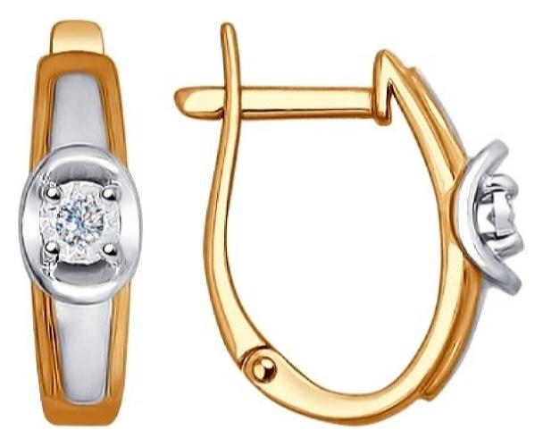 картинка серьги из золота 585° с бриллиантом 1021137