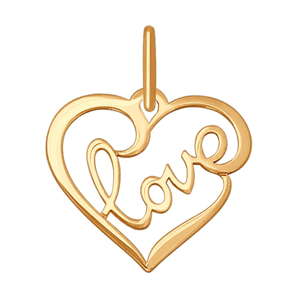картинка подвеска «love» из золота 035196