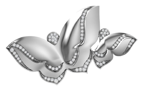 картинка брошь из серебра 925° с фианитом 2700886-00775