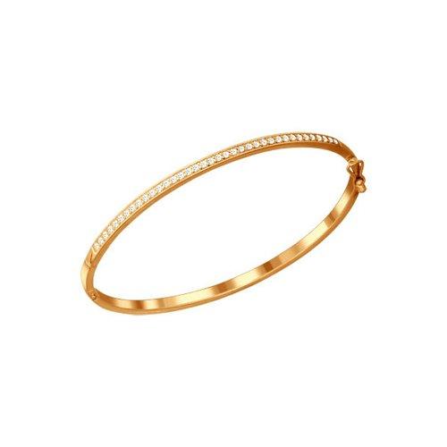 картинка браслет жёсткий из золочёного серебра с фианитами 93050050