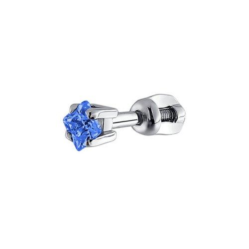 картинка серьги одиночные из серебра с голубым фианитом 94170005