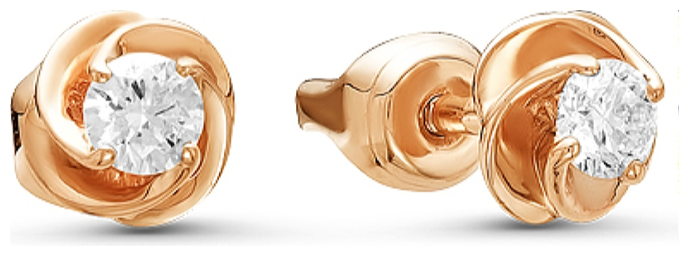 картинка серьги из белого золота 585° с бриллиантом 10-0054