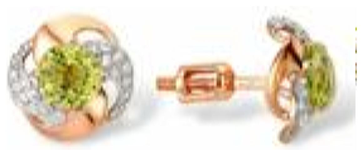 картинка серьги из золота 585° с топазом 9180744