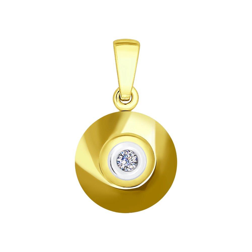 картинка подвеска из желтого золота с бриллиантом и керамикой 6035041