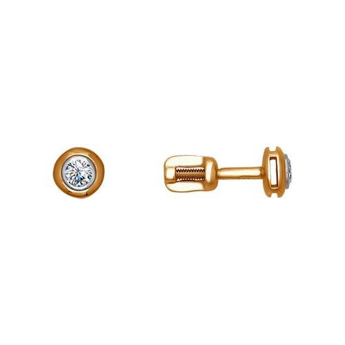 картинка серьги-пусеты из комбинированного золота с бриллиантами 1020391