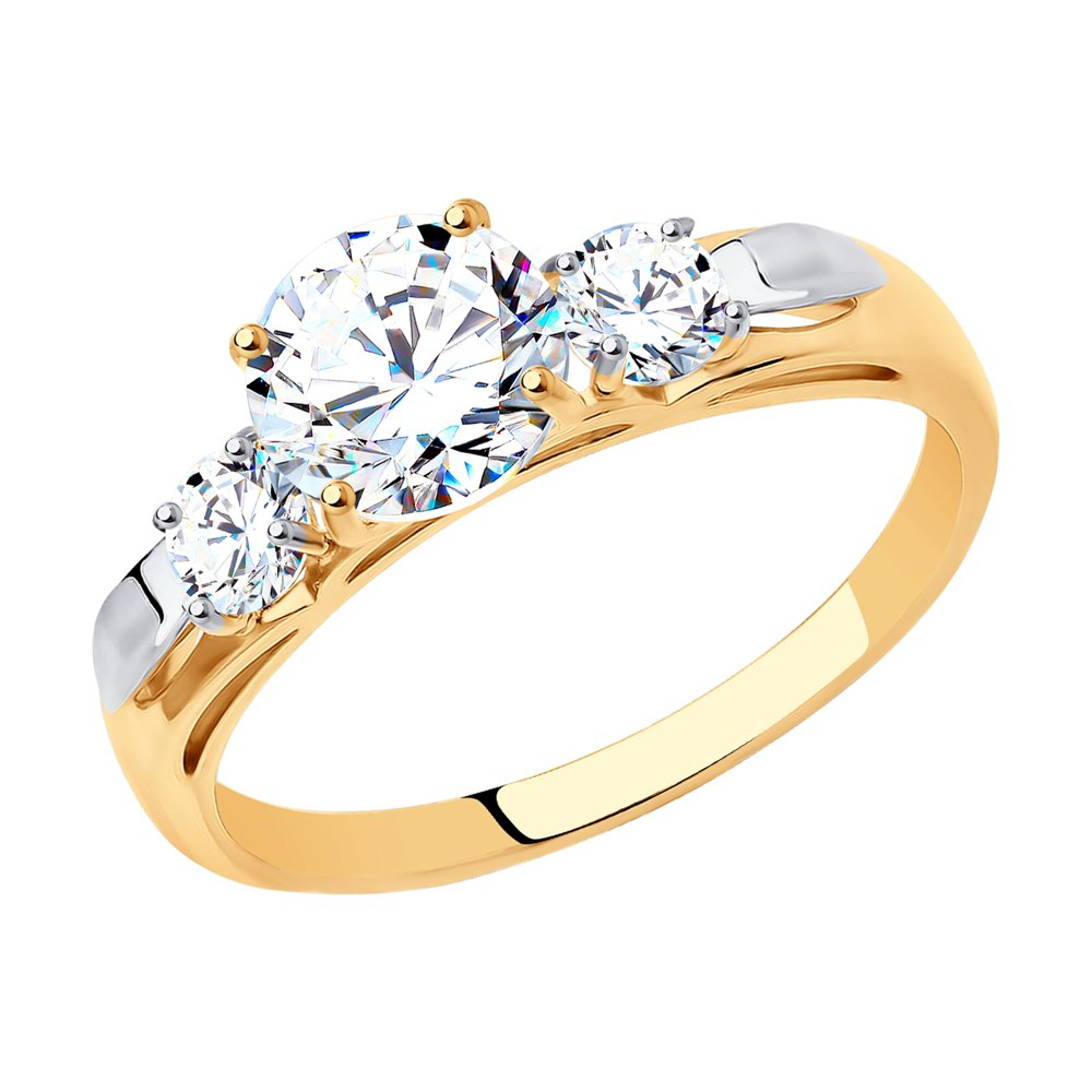 картинка помолвочное кольцо из золота со swarovski zirconia 81010194