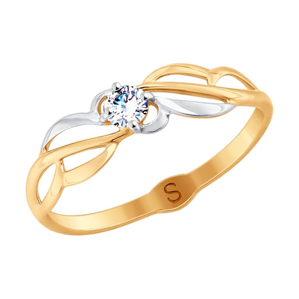 картинка кольцо из золота с фианитом 017990