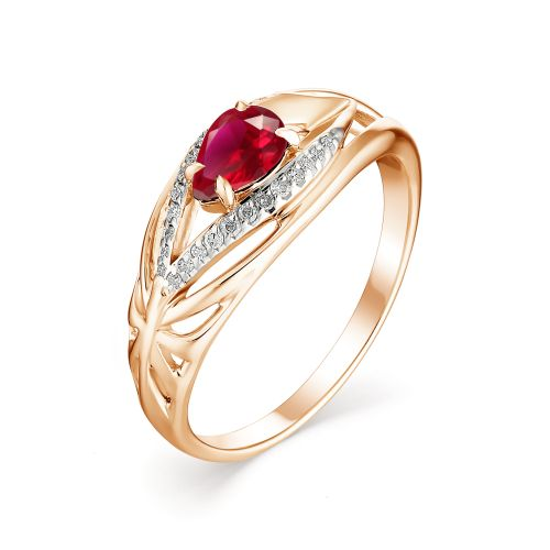 картинка кольцо 13136-103 1 рубин   груша 0,510 6х4 2/2, 24 бриллиант круг 17 0,073 200-400 2/3а 13136-103