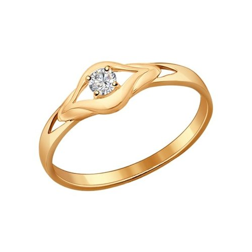 картинка кольцо из золочёного серебра с фианитом 93010531