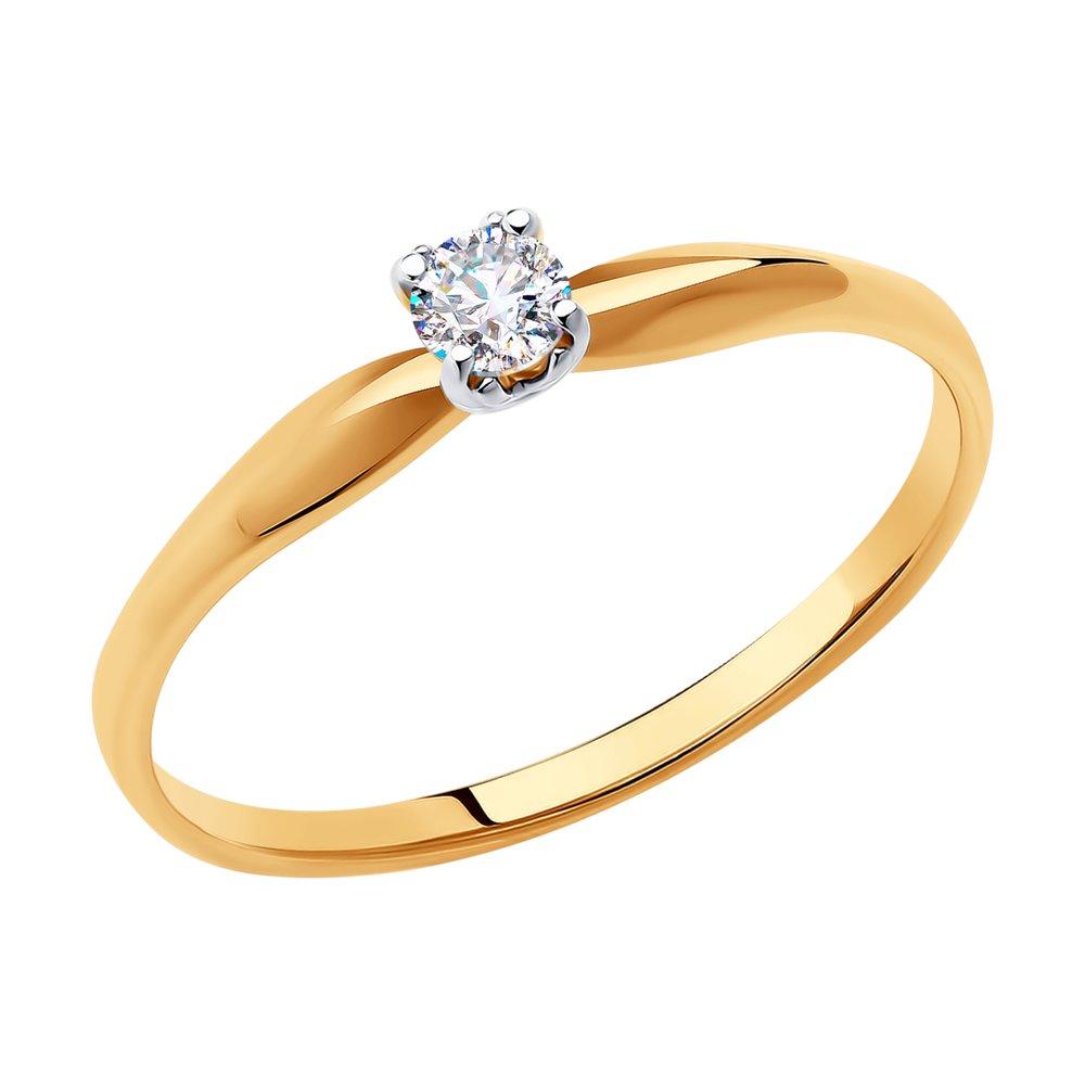 картинка кольцо из золота с фианитом 018485