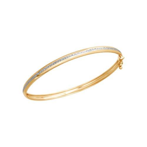 картинка золотой жесткий браслет с алмазной гранью 050367