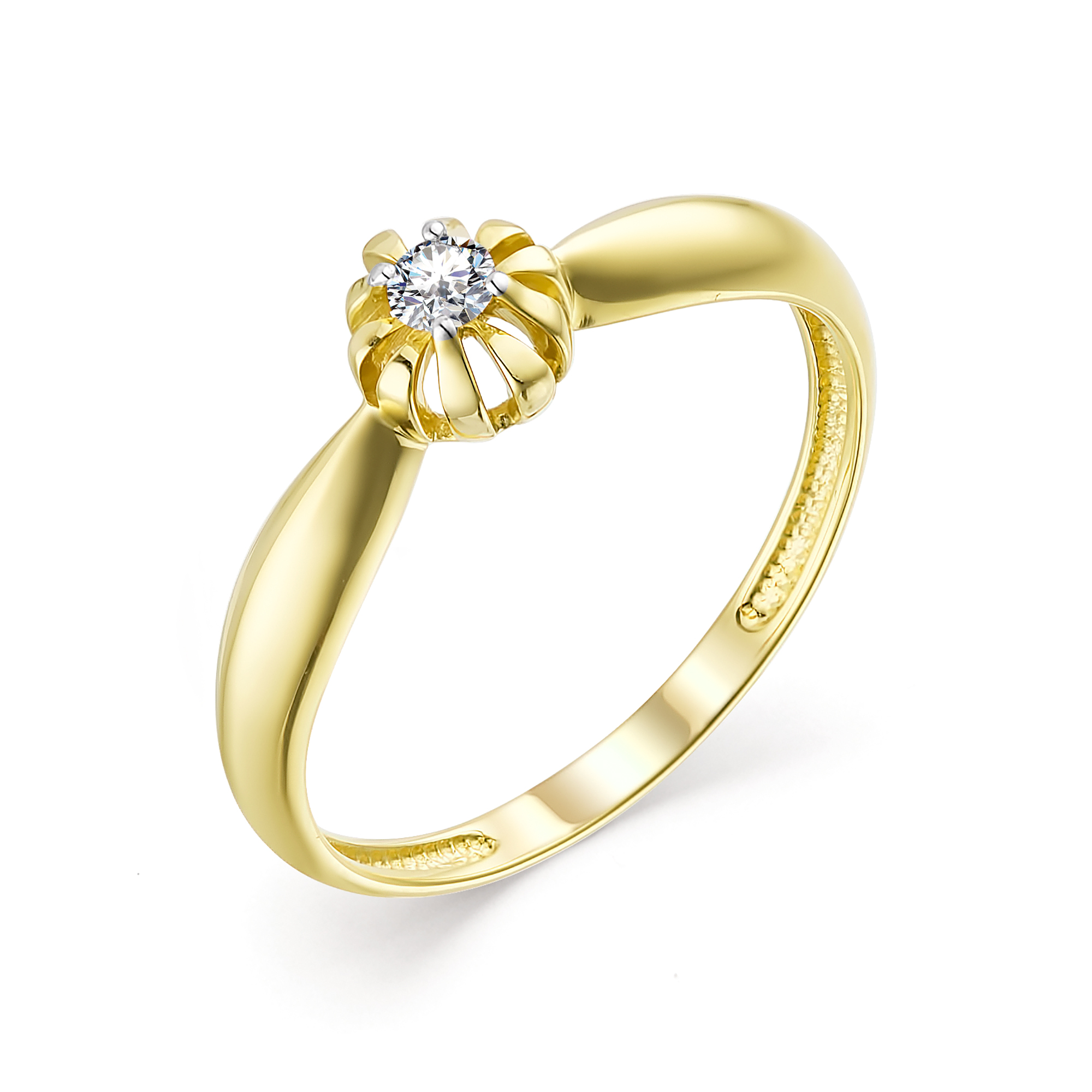 картинка кольцо 13512-300 1 бриллиант круг 57 0,073 15-20 3/6а 13512-300