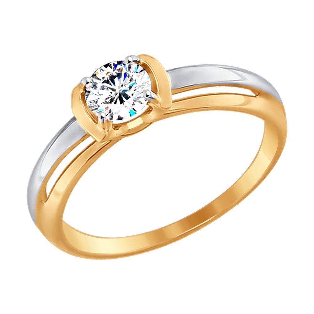 картинка помолвочное кольцо из золота с фианитом 017447