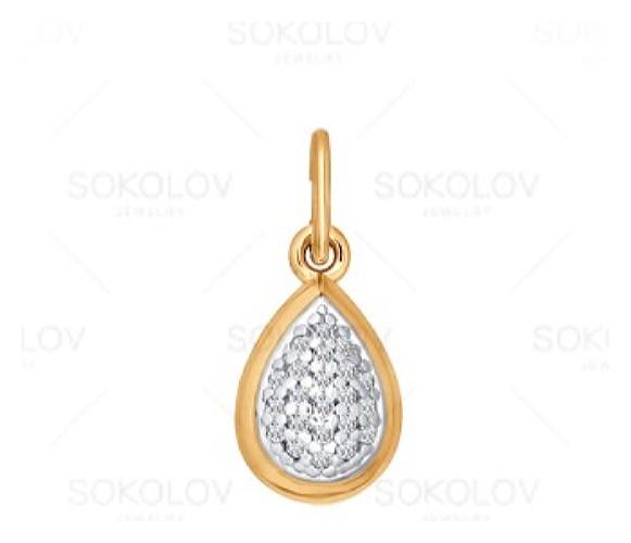 картинка подвеска из золота 585° с фианитом 033843