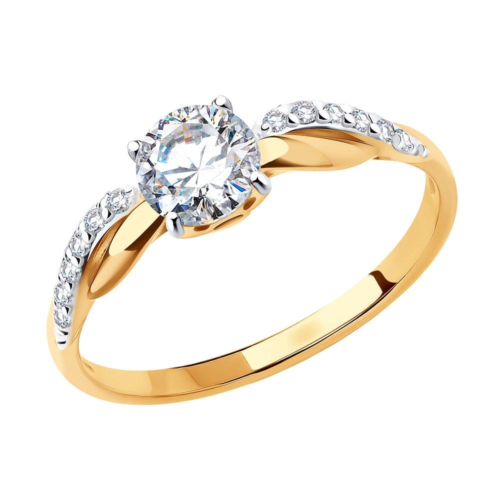 картинка помолвочное кольцо из золота со swarovski zirconia 81010201